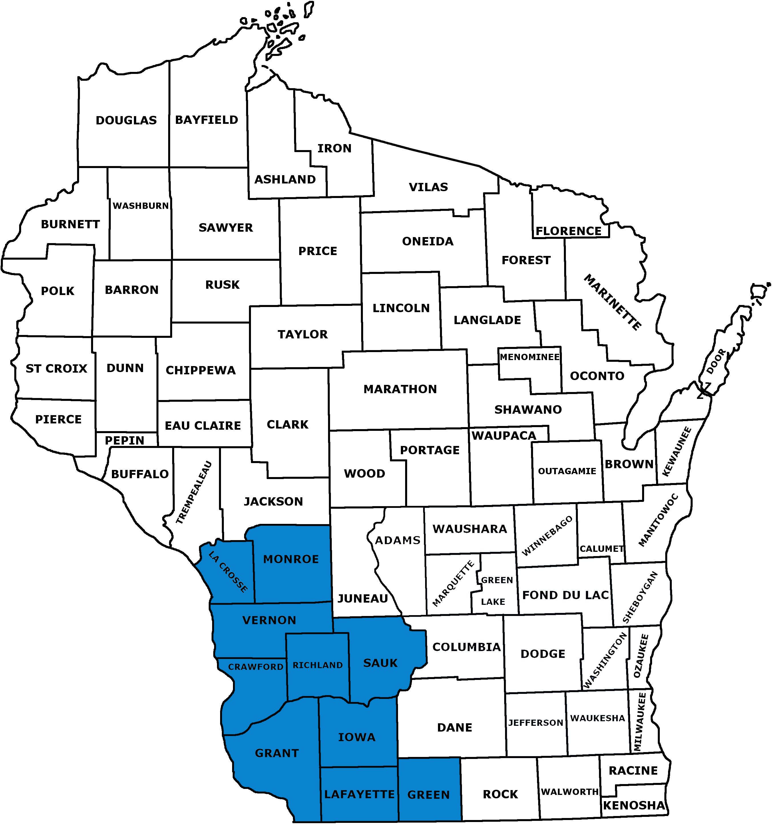 WI counties map full